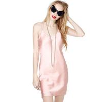 Pink cross spaghetti strap chiffon crinkle medium-long one-piece dress haoduoyi  free shipping