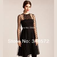 Elegant velvet gauze long-sleeve o-neck british style double layer high waist one-piece dress haoduoyi
