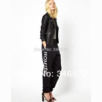 2014 new Brand LOGO print black sports long dress casual fleece trousers elastic waist dresses