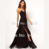 Double layer  floor isconvoluting black spaghetti strap full dress chiffon  haoduoyi