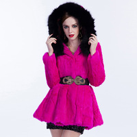 Free Shipping Sju 2014 winter rabbit fur hooded fur belt slim women's sj09 fur coat