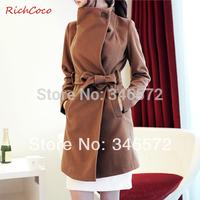 Richcoco fashion lacing single breasted long-sleeve slim medium-long wool coat d003