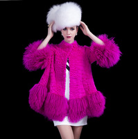 Free Shipping Sju fashion fur coat rabbit fur patchwork beach wool ds01