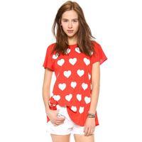 2014 New Heart-shaped deep V printing overlapping panels fold back the beauty of female hem short sleeve T-shirt Free Shipping O