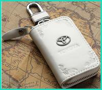 Genuine Leather Toyota Metal Logo Auto Car Key Wallet Holders Ring Bag Chains Free Shippnig gift box packing