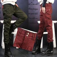 Spring 2014 Brand New Fashion Casual Female Cotton Zipper Denim Pleated Jeans Harem Pants Women
