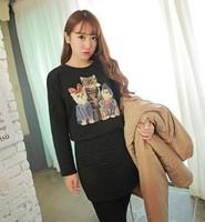 Times l . - cat dimond long-sleeve plaid sweatshirt one-piece dress