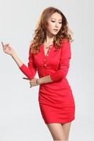 2013 slim hip long-sleeve basic shirt solid color one-piece dress