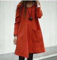 5 times . 2013 autumn placketing plus size women irregular long-sleeve dress
