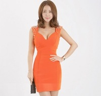 Spring 2014 V-neck all-match beading one-piece dress tight-fitting slim hip skirt