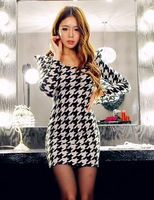 91 autumn and winter fashion houndstooth princess sleeve dress slim one-piece dress