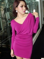 Sexy slim 91 V-neck one shoulder slim long-sleeve dress