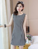 2014 houndstooth cymose back zipper sleeveless dress one-piece dress