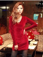 91 2014 V-neck paillette hip velvet long-sleeve slim one-piece dress