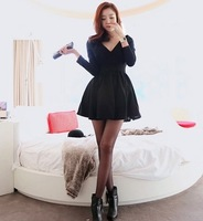 B spring the anteroposterior 2014 V-neck expansion bottom bubble princess long-sleeve dress
