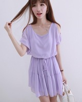 A fresh brief o-neck solid color strapless slim waist chiffon one-piece dress