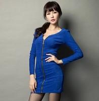 B spring elastic 2014 y zipper behind lace patchwork hip slim one-piece dress
