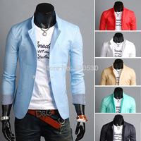 Men's 2014 blaser male slim blazer mens fashion blazers Single buckle Slim small suit Men's Casual Blazer cuffs stripes