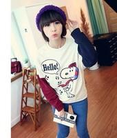J women's color block decoration color block print o-neck sports cartoon sweatshirt