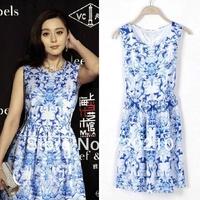 Women's spring 2014 star blue and white porcelain thin one-piece dress gentlewomen