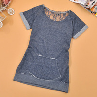 Spring and summer 2014 women's small wool circle back lace T-shirt short-sleeve shirt female y2667