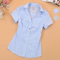 Summer 2014 women's ol elegant stripe short-sleeve shirt slim female shirt