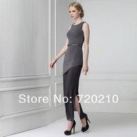 Elegant mermaid chiffon patchwork placketing bias-cut slim knitted one-piece dress strap 9816