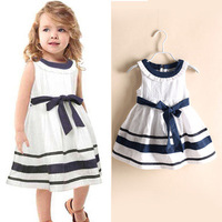 12 pcs/lot Girls' Dress 2014 New Summer Sleeveless Bow Stripe Designer Children Sundress For Kids Girls Navy Girl Brand Dresses