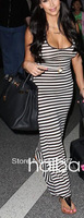 2014  new sexy  black white striped retro vintage  sleeveless  summer women beach party daily casual  long maxi dress