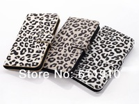 High Quality Leopard Pattern Flip PU Wallet Leather Stand Case For Samsung Galaxy S5 SV i9600 With Card Slot Drop Shipping