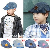 Fashion Cowboy Baby Boys Girls Star Cap Visor Baby Beret Hats Child Baseball Caps Kids Peaked Hats Boy Caps For 3-10T QH00018
