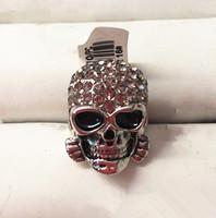 Skull ring.Wholesale & retail rhinestone & skeleton neutral ring.Both men and women 18KGP white gold ring.Size 6-9.Free shipping
