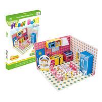2015 Factory direct homdecor Gift popular Handmade Honey room decoration 3D diy paper & EPS foam colorful puzzle toys WJ1019