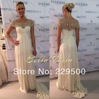 Beautiful Cap Sleeve Beige Chiffon Evening Gowns Celebrity Dress A-Line Floor Length Sexy Prom Dresses 2014 New Arrival