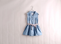 Wholesale 5pcs/lot light blue wash summer flower belt girls dress cotton children dress