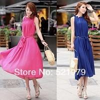 Pink Maxi Chiffon Long Dresses Vestidos de fiesta Growns With Belt 4 Color new fashion 2014 spring summer dresses for women