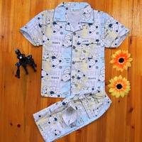Children's clothing child sleepwear 100% cotton sleepwear male child sleepwear summer short sleeve length pants set boy bear