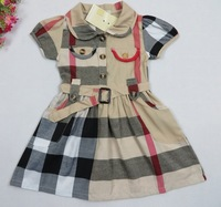 10pcs/lot Baby Girls Dress 2014 New Summer Fashion PLAID Shirt Toddler Dress For Girl Brand Designer Princess Wear Clothing 0-2Y