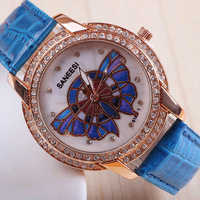 11 colors New Fashion Leather Diamond women rhinestone SANEESI Butterfly Watches Woman Watch Dress Watch 1pcs/lot