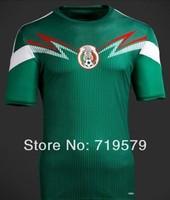 Mexico soccer jerseys 2014 Brazil World Cup home Green football jerseys camiseta de futbol uniform 100% Cotton Thai Uniform Set