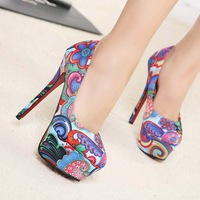2014sexy personalized colored drawing ultra high platform high-heeled shoes fashion shoes women's single shoes all-match