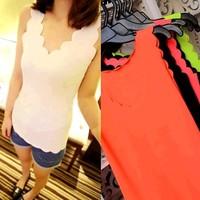 Free shipping Cotton thread V-neck wave laciness sleeveless laciness basic slim basic vest