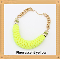 Wholesale Free Shipping 2014 New Arrived Europe Handwoven short paragraph choker chunky statement necklace Women Costume jewelry
