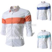 2014 casual Slim single button suit jacket Fashion clothing blazer french cuff shirt men cotton shirt size:M-XXL sky bule orange