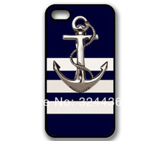 Quality 100% High clear anchor in blue and white background face case for iphone 4 4g