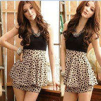 women ladies' cute Sexy club Sleeveless Leopard evening ruffle dress, maxi casual dress Free Shipping F3210