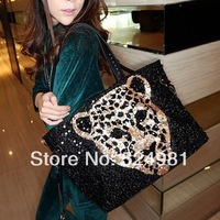 Free shipping  leopard head bag PU paillette bag vintage bag one shoulder handbag cross-body women's handbag