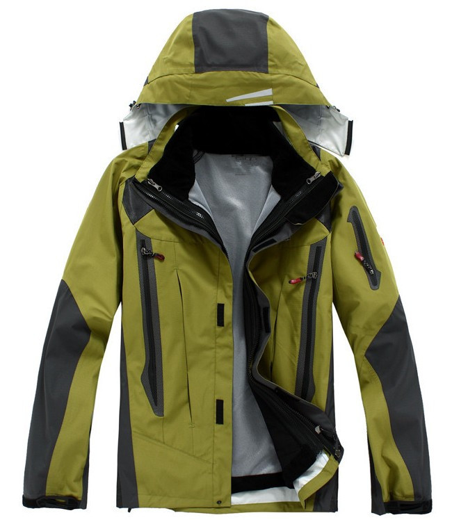 new 2014 Mens Name Brand Top Quality men Super Waterproof Jacket Double Layer Outdoor Winter Ski Camping Wear Fleece Hooded coat(China (Mainland))