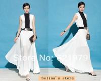 2014 New fashion women Bohemian Georgette pleated wave beach dress black white patchwork Princess maxi long dresses wholesale