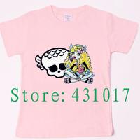 Retail 2014 Monster High 100 cotton summer cartoon short sleeves children T shirts boys girls t shirt  2-13 Ages kids t shirt